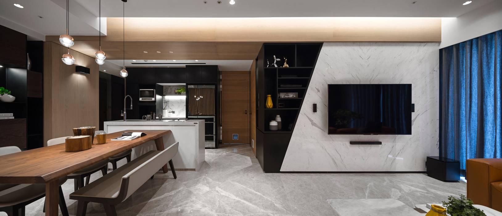 線.構 現代風玄關、走廊與階梯 根據 築川設計 現代風