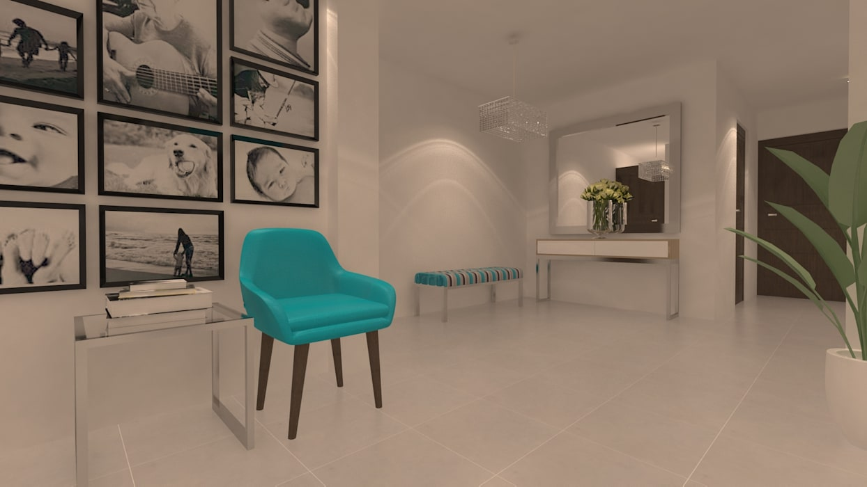 | PROYECTO SALA - COMEDOR | - Vista Hall: Salas / recibidores de estilo  por Giovanna Solano - DLuxy Muebles Design