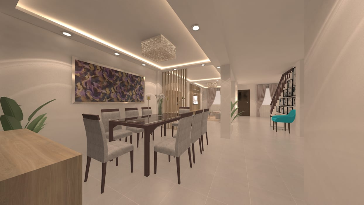| PROYECTO SALA - COMEDOR | - Vista Comedor Comedores de estilo moderno de Giovanna Solano - DLuxy Muebles Design Moderno Aglomerado
