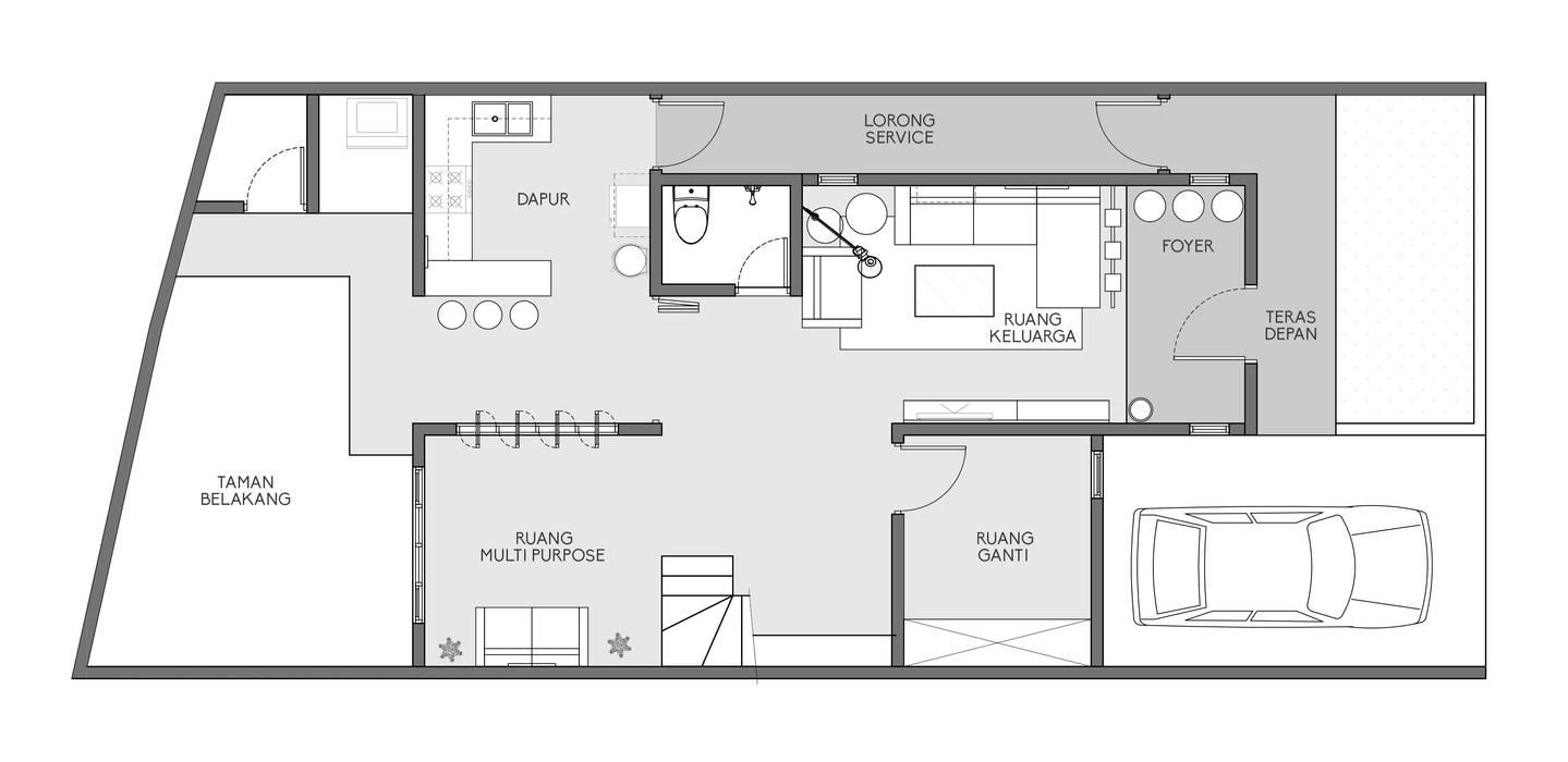 D&A House Cimanggis: Lantai oleh Dwello Design,