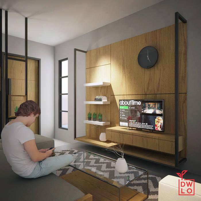 D&A House Cimanggis: Ruang Keluarga oleh Dwello Design, Industrial Kayu Lapis