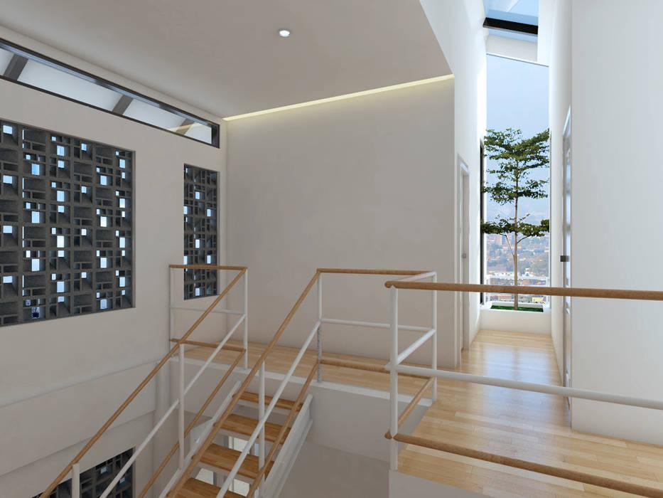 TSforTC House Koridor & Tangga Tropis Oleh Abil Architect Tropis Parket Multicolored