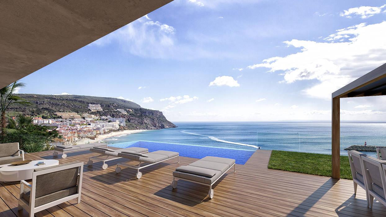 Infinity pool by Traçado Regulador. Lda, Modern Concrete