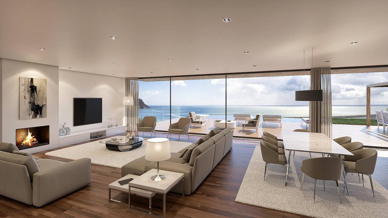 Casa SP1 - Moradia em Sesimbra - Projeto de Arquitetura - sala Traçado Regulador. Lda Salas de estar modernas Madeira Branco