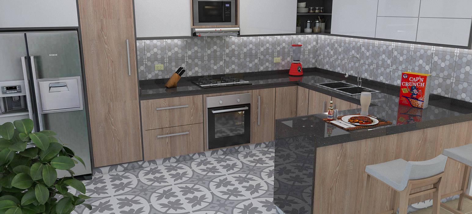 Modelado y diseño de cocina.: Cocinas integrales de estilo  por Arquitectura e Ingenieria GM S.A.S, Moderno Aglomerado