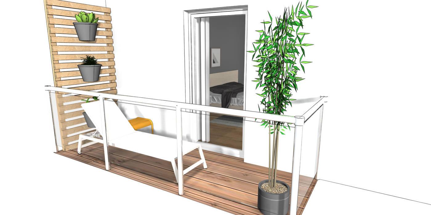 Ansicht 3-Zimmer Wohnung:  Balkon von Der Schlüssel zum Glück - Interior Design