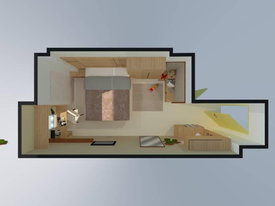 Denah layout 3D:  oleh Internodec, Minimalis