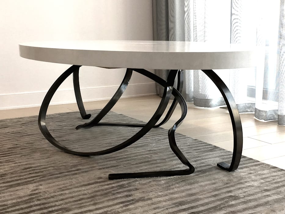 Custom Sculptural Dining Table - Living Room - 86th Street New York Modern Dining Room by Joe Ginsberg Design Modern