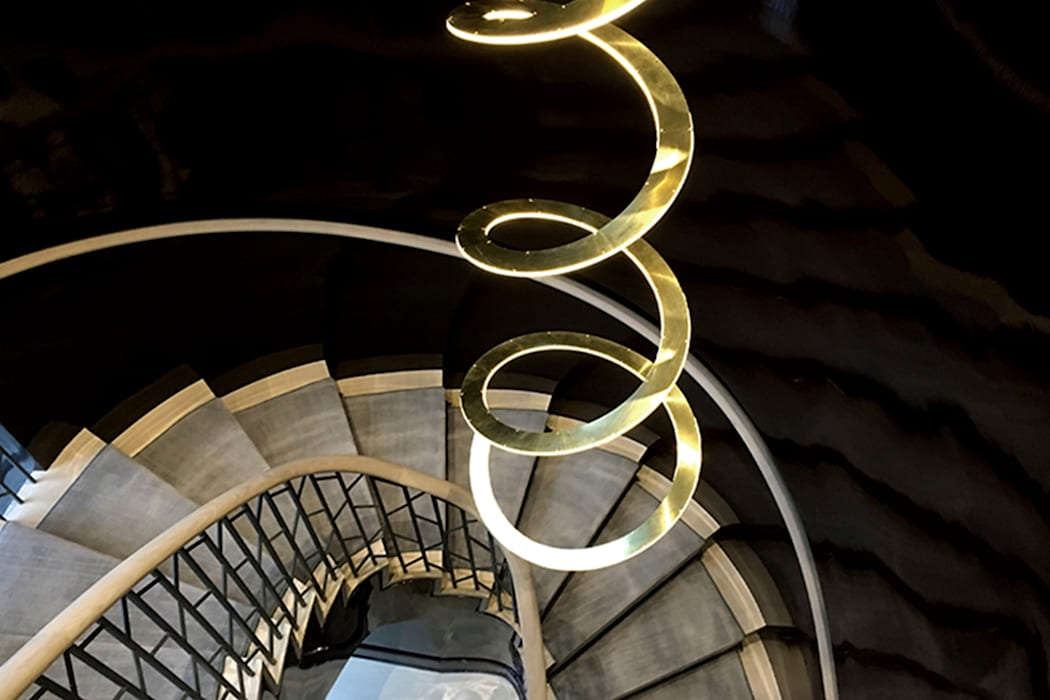 sculptural Spiral Pendant - Staircase - 86th Street New York by Joe Ginsberg Design Modern