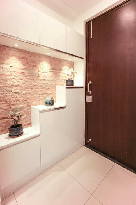 The Shoe Rack In The Foyer With Stone Cladding Modern