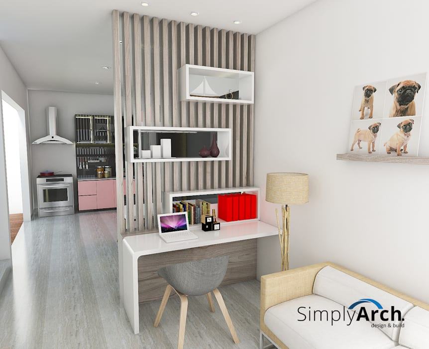 Partisi pembagi ruang makan dan ruang kekuarga: Ruang Keluarga oleh Simply Arch., Minimalis