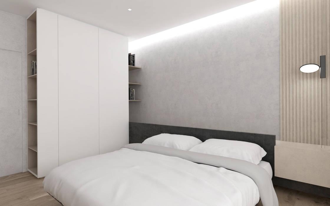 Il letto con integrata una mensola comodino e sopra la strip ...