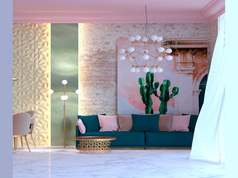 Вид на гостевую зону: Гостиная в . Автор – Дизайн студия Arh-ideya