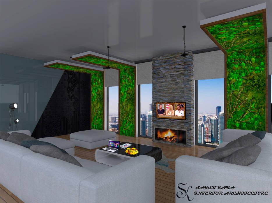 Salon Tasarımı SKY İç Mimarlık & Mimarlık Tasarım Stüdyosu Modern Oturma Odası