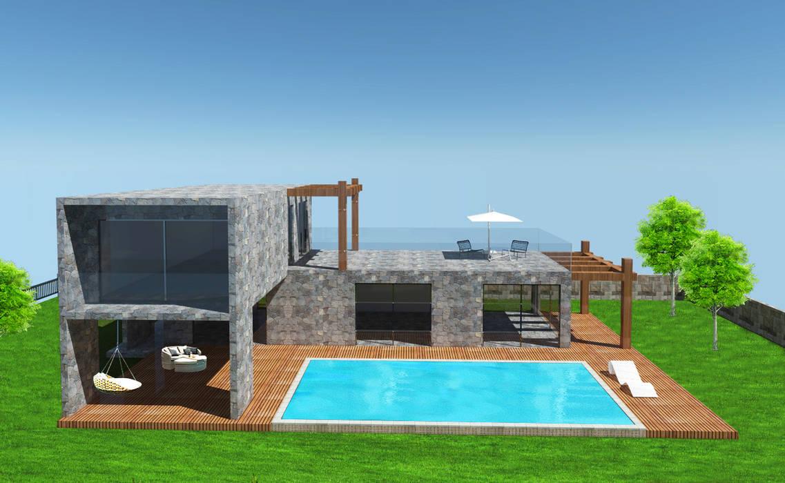 SKY İç Mimarlık & Mimarlık Tasarım Stüdyosu – Bodrum Taş Villa:  tarz Villa
