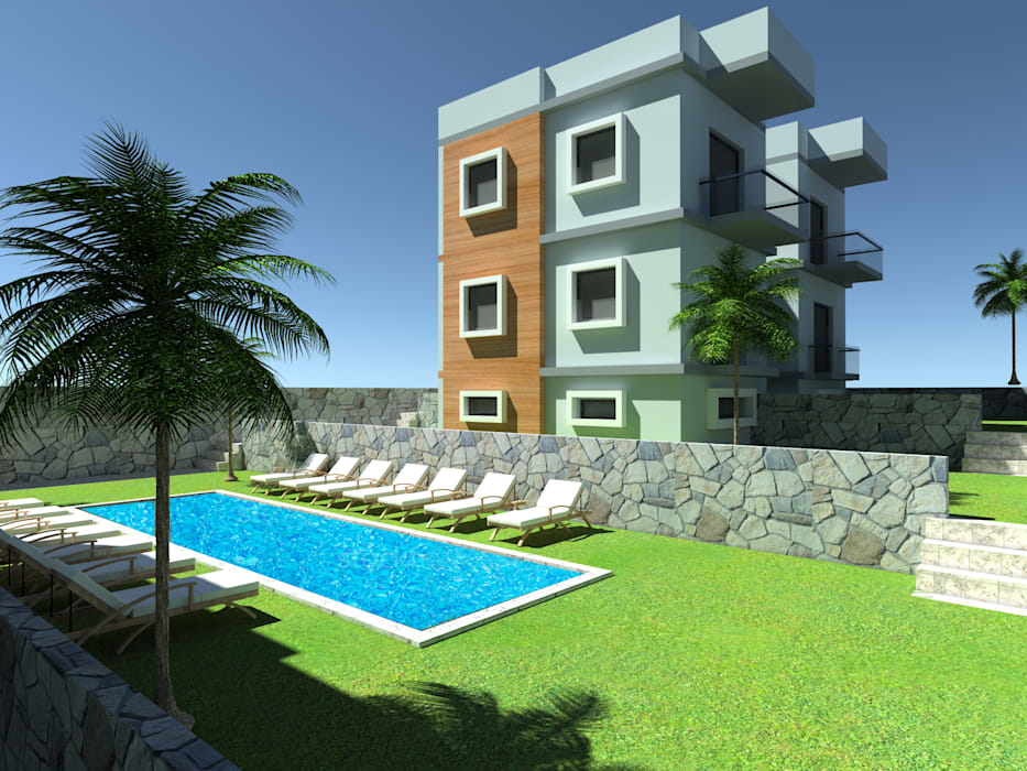 Bodrum Apart Projesi SKY İç Mimarlık & Mimarlık Tasarım Stüdyosu Modern