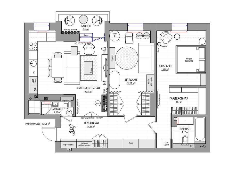Планировка ПОСЛЕ Стены и пол в стиле модерн от Дизайн Студия 33 Модерн