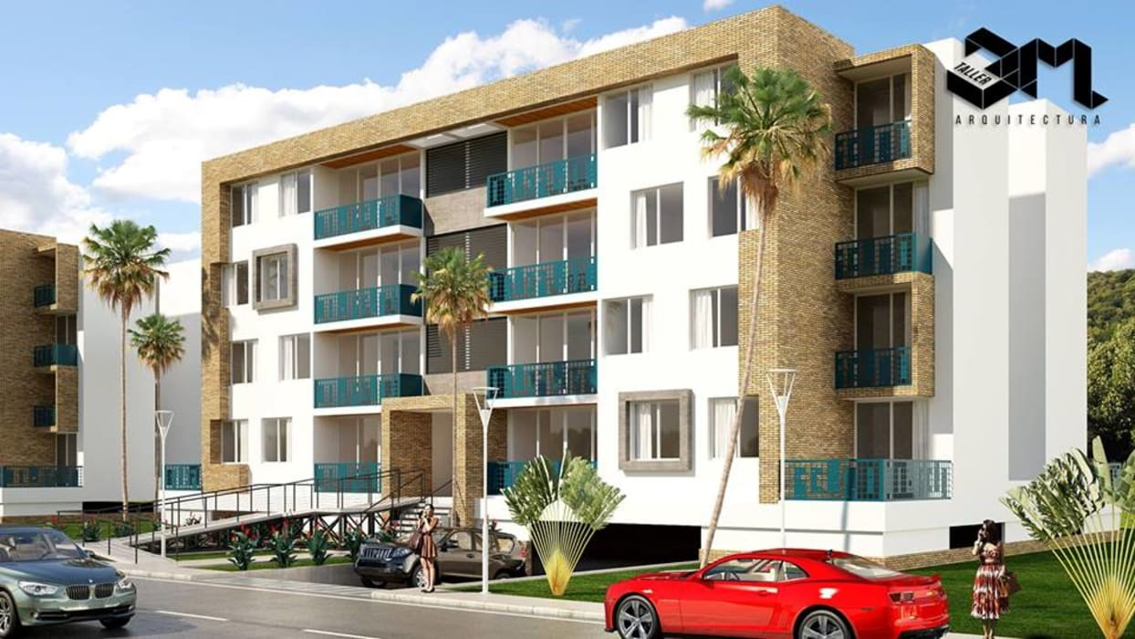 Fachada / Proyecto BRISAS DEL RÍO - República Dominicana: Casas multifamiliares de estilo  por Taller 3M Arquitectura & Construcción
