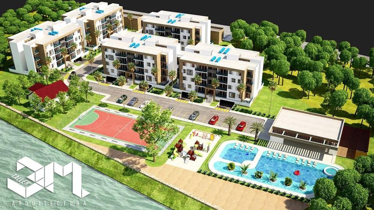 Implantación / Proyecto BRISAS DEL RÍO - República Dominicana: Casas multifamiliares de estilo  por Taller 3M Arquitectura & Construcción