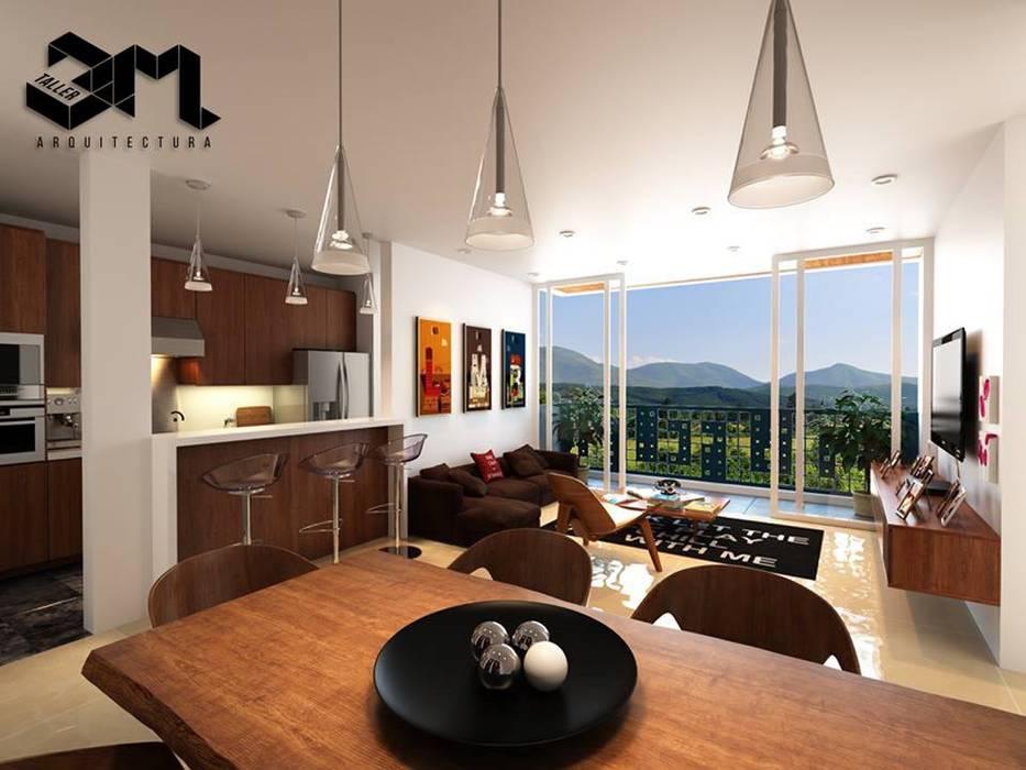 Comedor (espacios internos) Proyecto BRISAS DEL RÍO - República Dominicana: Comedores de estilo  por Taller 3M Arquitectura & Construcción