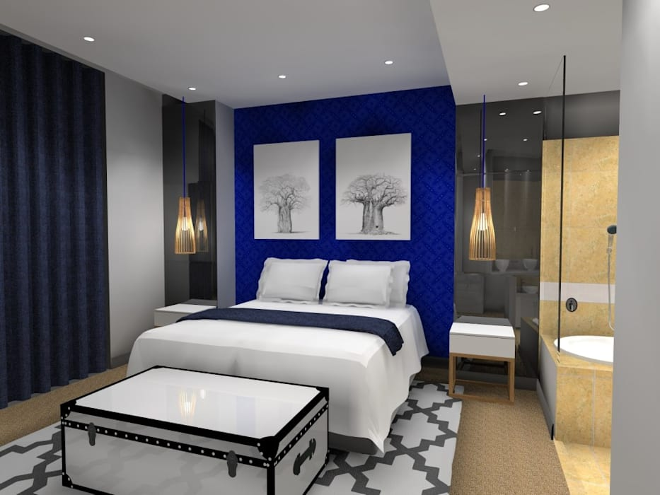 main bed:  Bedroom by AB DESIGN