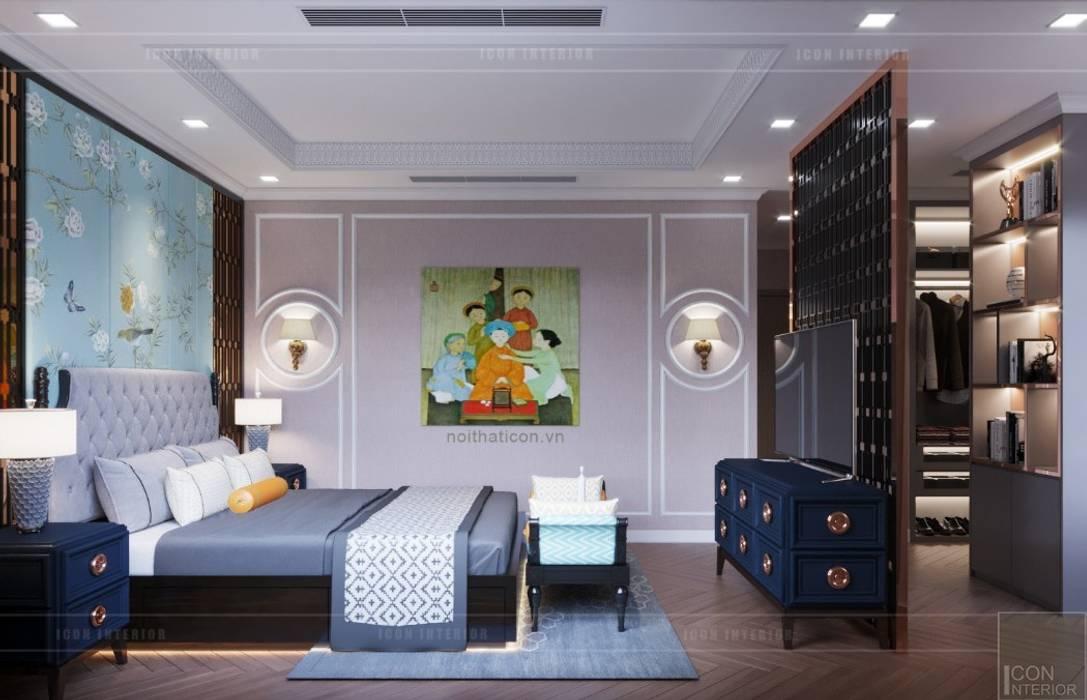 Nội thất phong cách Đông Dương với sắc xanh độc đáo:  Phòng ngủ by ICON INTERIOR,