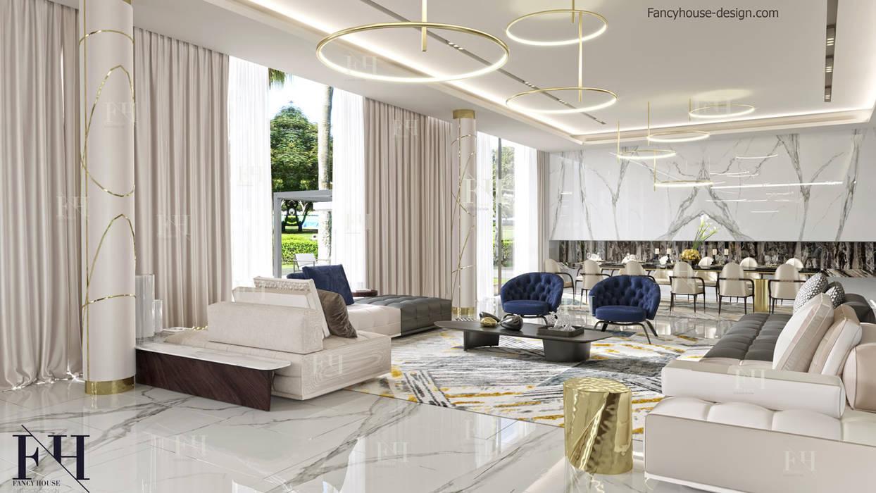 Luxury living room interior design:  Living room by Fancy House Design
