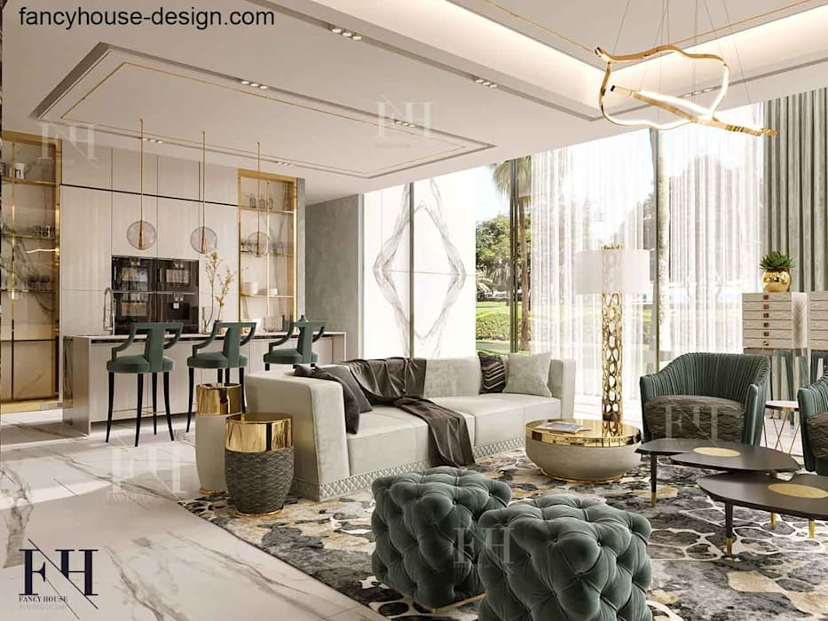 Luxury family living room with dining :  Living room by Fancy House Design, Modern Marble