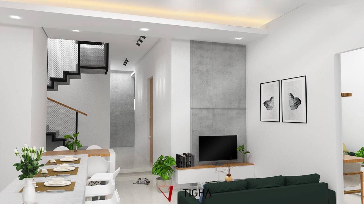 Interior ruang keluarga AN House: Ruang Keluarga oleh Tigha Atelier,