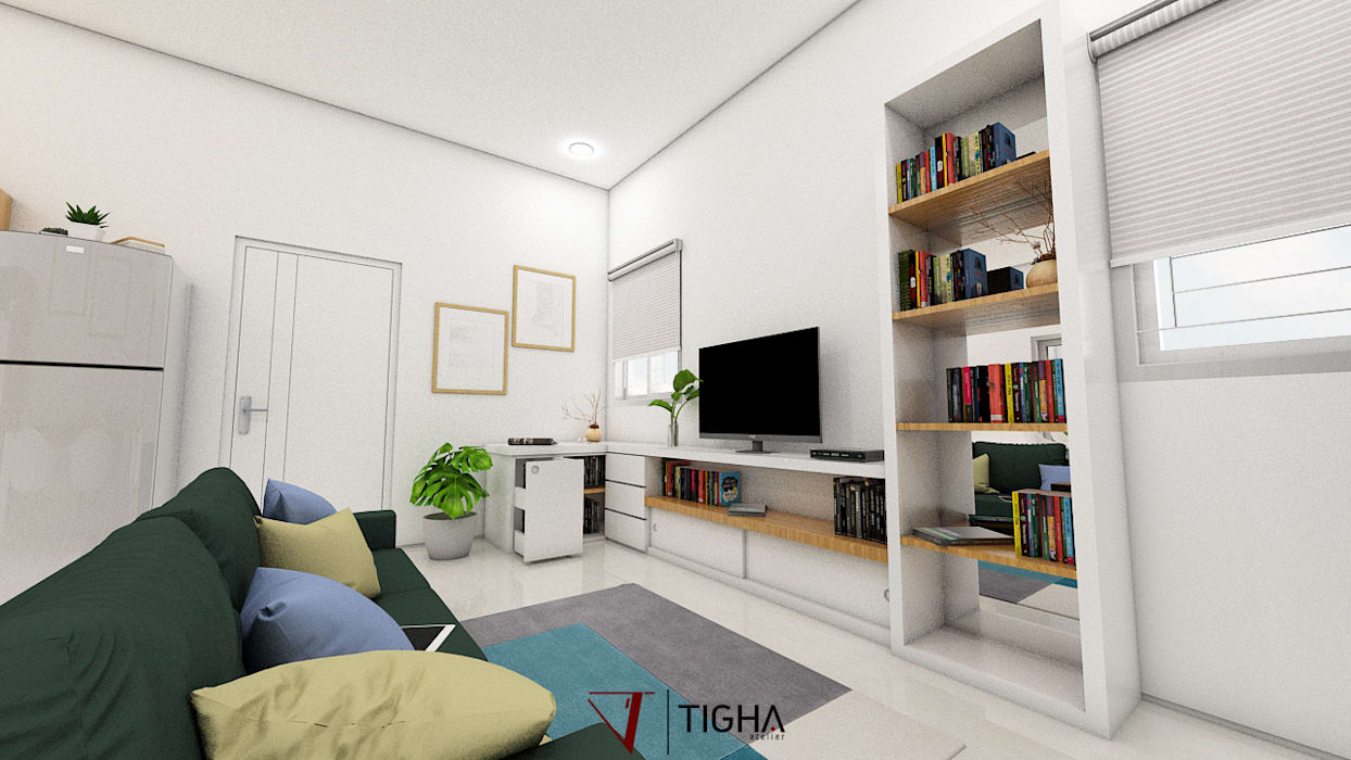 Living Room: Ruang Keluarga oleh Tigha Atelier,
