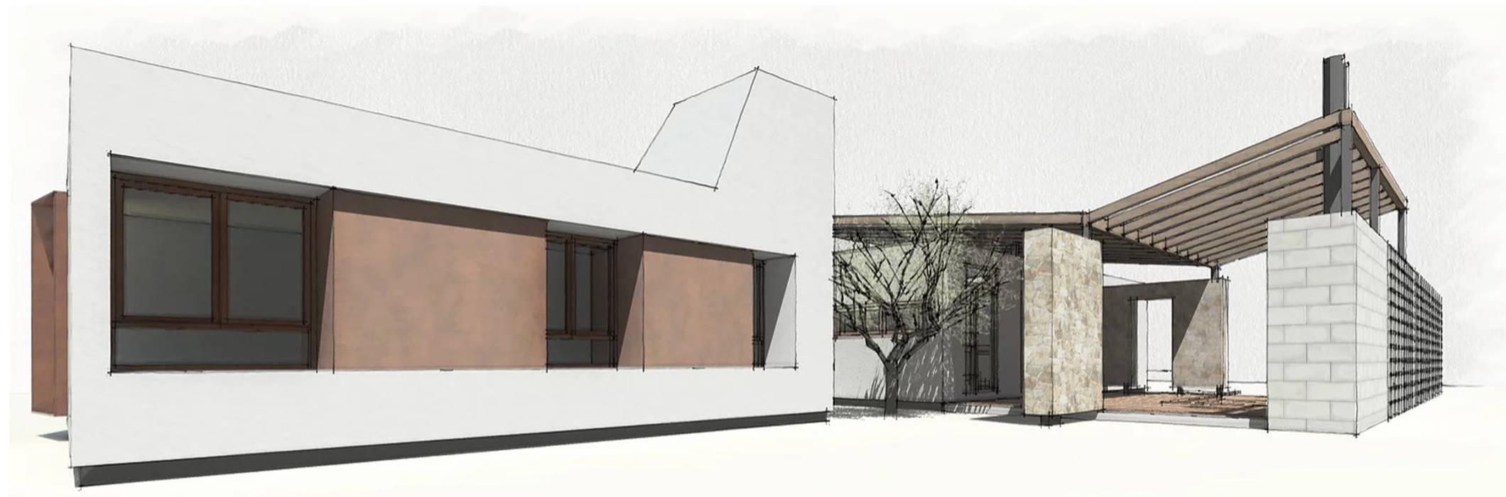 Diseño de Casa a dos Aguas en Valle Alegre por 1.61 Arquitectos: Casas unifamiliares de estilo  por 1.61 Arquitectos