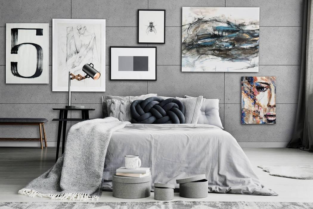 Betonoptik Hollow Platten 60x100 cm mit runden Vertiefungen in dove grey Moderne Schlafzimmer von Loft Design System Deutschland - Wandpaneele aus Bayern Modern