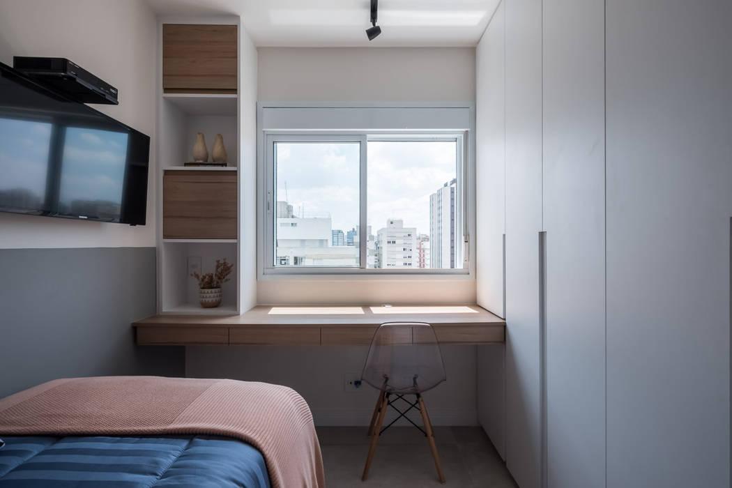 Quarto hóspede: Quartos pequenos   por Mirá Arquitetura,Moderno MDF