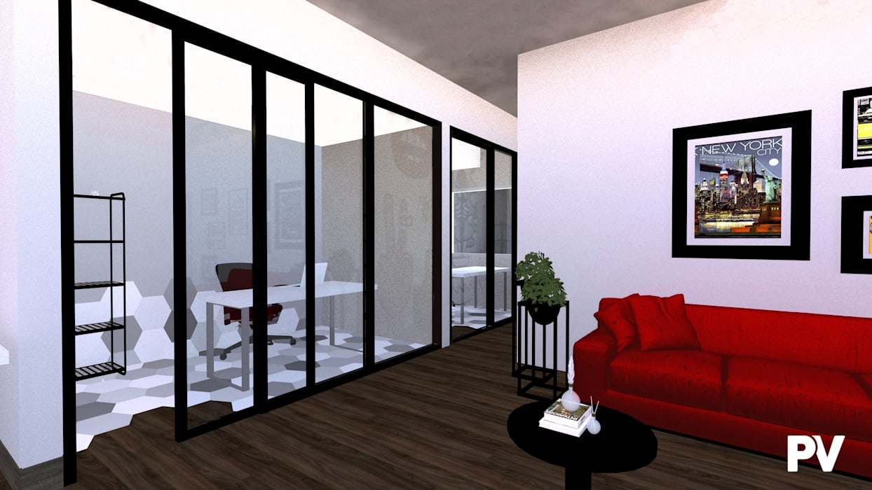 Oficinas Morelos: Estudios y oficinas de estilo  por VillaSi Construcciones
