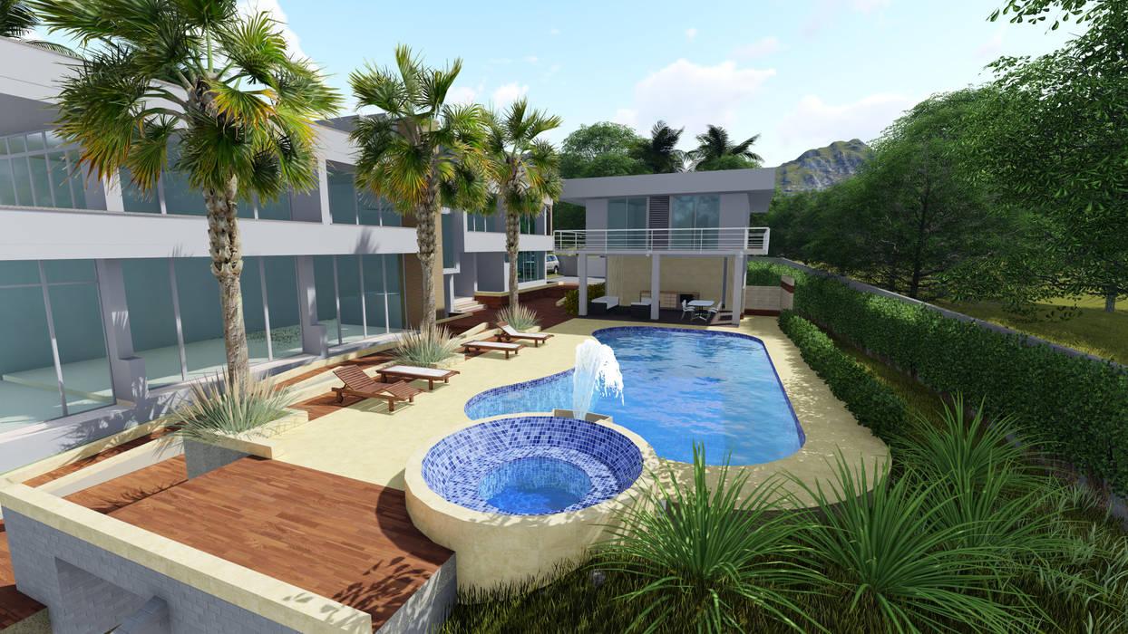 Vivienda Multi-Familiar(Casa Jardin) de SEQUOIA. Projects & Designs Tropical Concreto