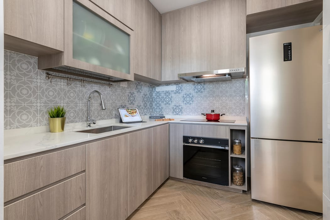 22 Teow Hock Avenue -  Scandinavian :  Kitchen by VOILÀ Pte Ltd