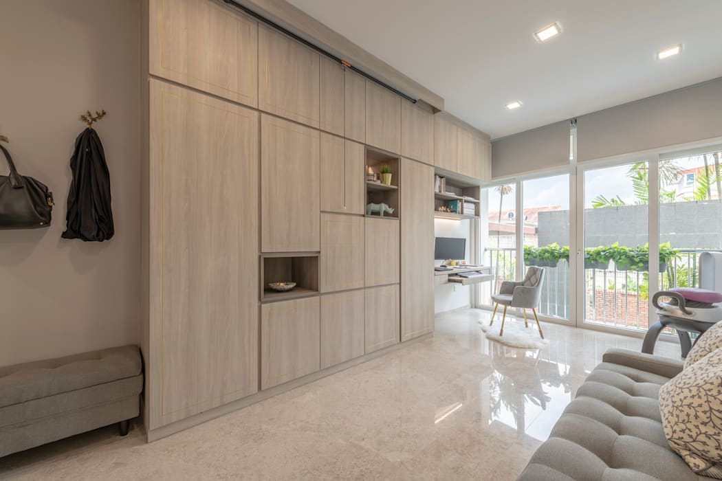 22 Teow Hock Avenue -  Scandinavian :  Living room by VOILÀ Pte Ltd