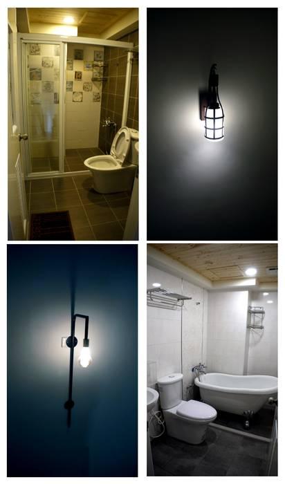 將原本只有淋浴空間的浴室放上浴缸,牆壁也利用白色磚塊提升空間明亮度:  浴室 by 奕禾軒 空間規劃 /工程設計