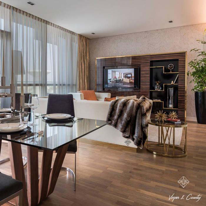 Comedor de diseño italiano para apartamentos de lujo en Dubái: Comedores de estilo  de ANGEL CERDA