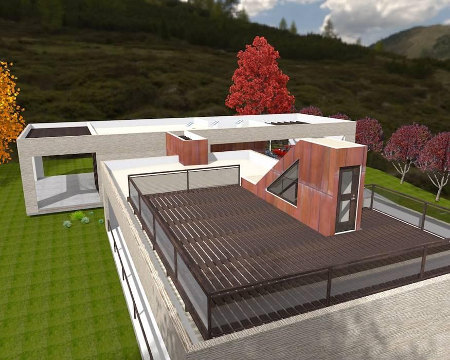 Vista de la Terraza Casas de estilo escandinavo de ARQvision BIM Sustainable Architecture Escandinavo