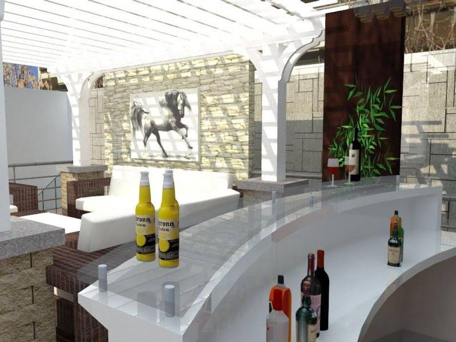 Terraza bar y pergola: Terrazas de estilo  por ROQA.7 ARQUITECTOS