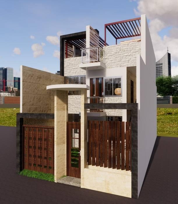 Fachada vivienda GC: Casas pequeñas de estilo  por ROQA.7 ARQUITECTOS
