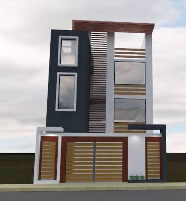 Fachada 1: Casas multifamiliares de estilo  por ROQA.7 ARQUITECTOS