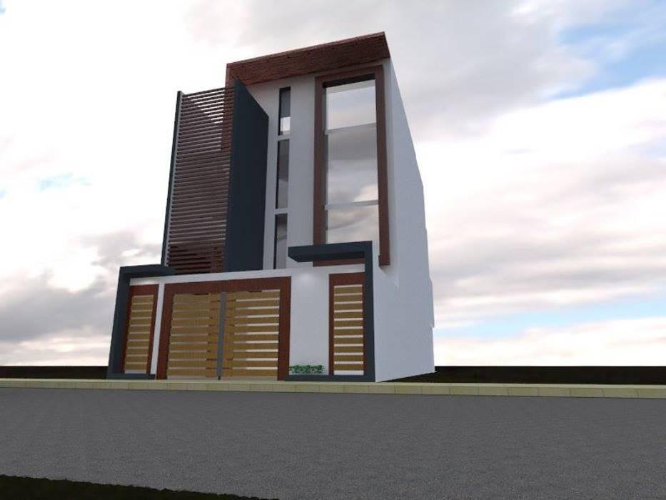 Fachada 2: Casas multifamiliares de estilo  por ROQA.7 ARQUITECTOS, Moderno