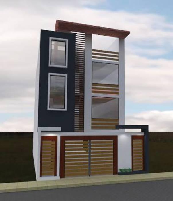 Fachada 3: Casas multifamiliares de estilo  por ROQA.7 ARQUITECTOS