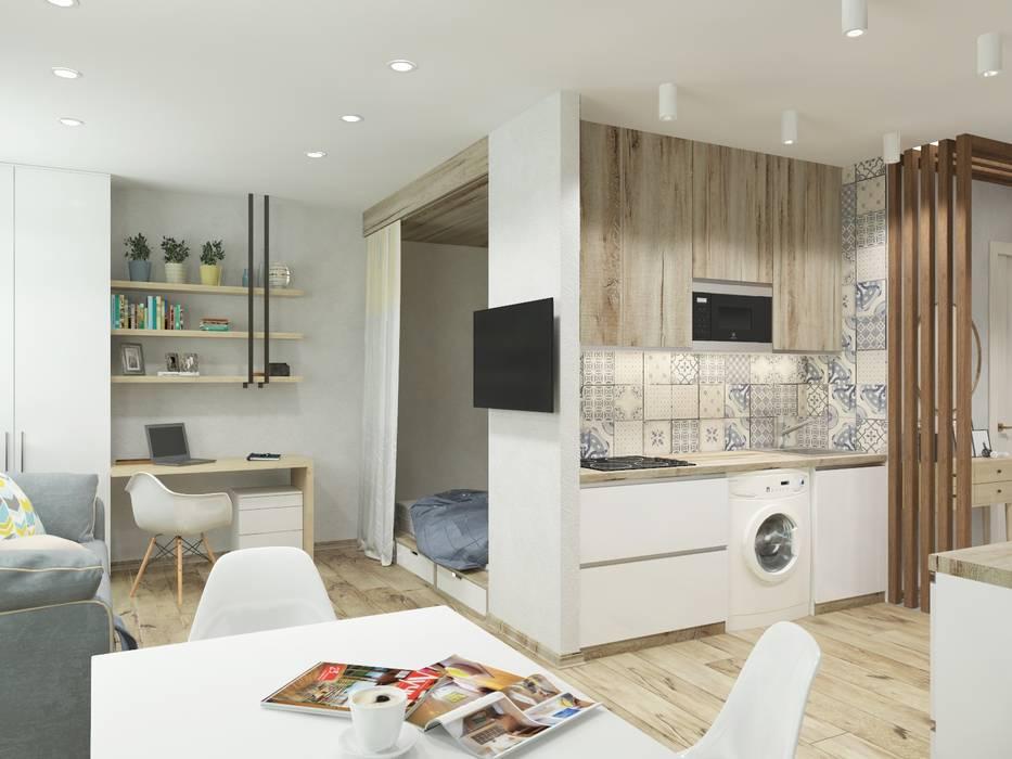 Однокомнатная квартира в скандинавском стиле: Маленькие кухни в . Автор – ARTWAY центр профессиональных дизайнеров и строителей, Скандинавский