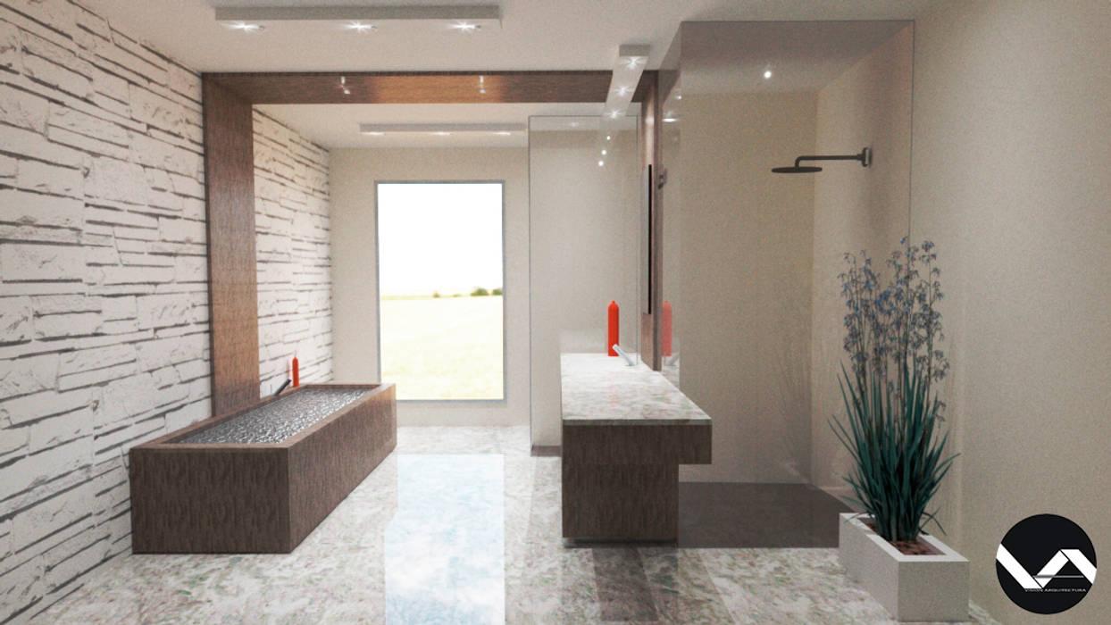 Diseño de Interior para Baño Estilo Minimalista : Baños de estilo  por Vision Arquitectura Estudio, Minimalista Mármol