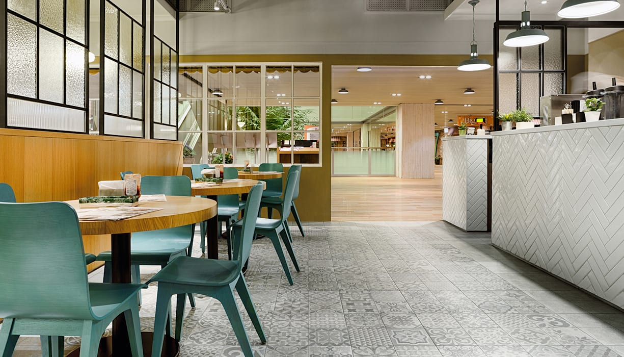 DACOZ大口吃手創漢堡:  餐廳 by 伊歐室內裝修設計有限公司,