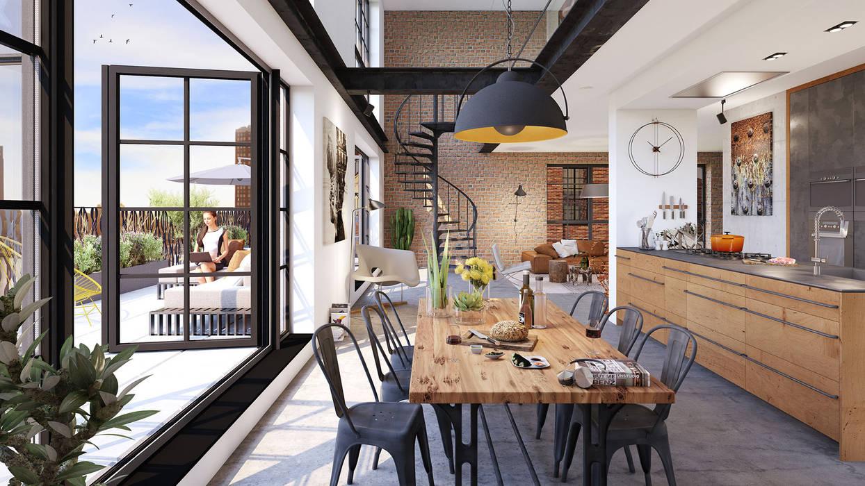 Little C lofts - Rotterdam:  Eetkamer door jvantspijker & partners