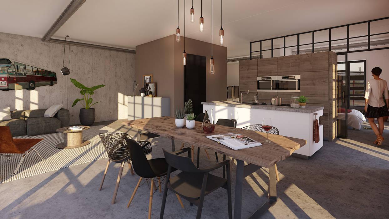 Little C lofts - Rotterdam:  Keukenblokken door jvantspijker & partners, Industrieel Beton